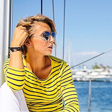 nautistyles in yellow and black striped Target top anchor bracelet sail swag sailing